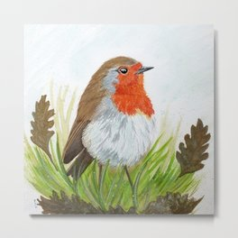 Robin with Oakleaves Metal Print