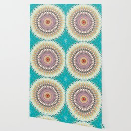 Teal Orange Yellow Boho Mandala Wallpaper