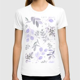 Modern lilac lavender gray watercolor floral leaves T-shirt