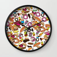 junk food Wall Clocks featuring Cartoon Junk food pattern. by Nick's Emporium Gallery