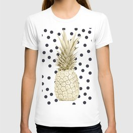 Gold Pineapple on Black and White Polka Dots T-shirt