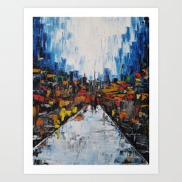 City of Reflections, NYC art, abstract city, city scape, colorful city Art Print