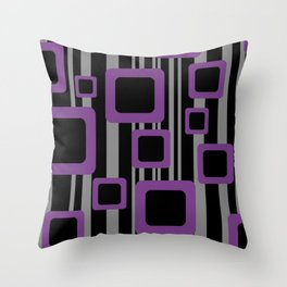 Violet Black Pattern Rectangles #society6  Throw Pillow