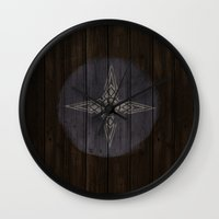 skyrim Wall Clocks featuring Shield's of Skyrim - Downstar by VineDesign