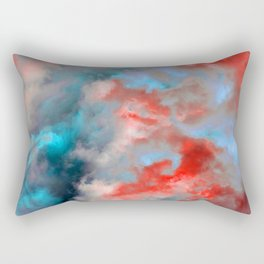 Cloudscape in Cerulean and Red Rectangular Pillow