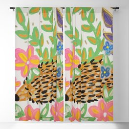 floral hedgehog  Blackout Curtain