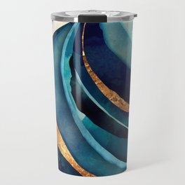 Abstract Blue with Gold Travel Mug