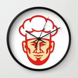 Chef Cook Beard Toque Hat Retro Wall Clock