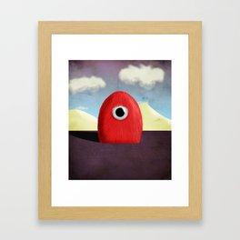 Red Fluff Monster Framed Art Print