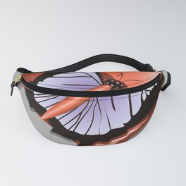 Beautiful butterfly and heart on polished metal textured background Fanny Pack