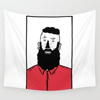 beard Wall Tapestries featuring BearD Guy by David Penela