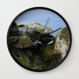 Lichen Covered Rocks in Front of the Blue Horizon Wall Clock