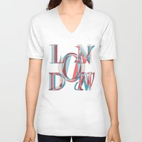 london V-neck T-shirts featuring London by Fimbis