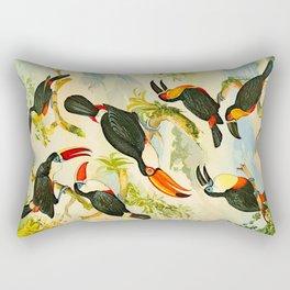 Album de aves amazonicas - Emil August Göldi - 1900 Tropical Colorful Amazon Birds Rectangular Pillow
