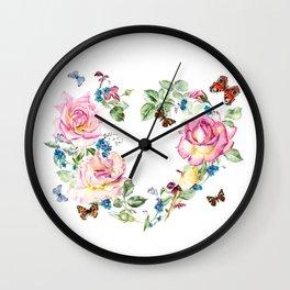 Watercolor Rose Heart Wreath Wall Clock