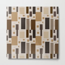 Retro Squares in Browns and Golds Metal Print
