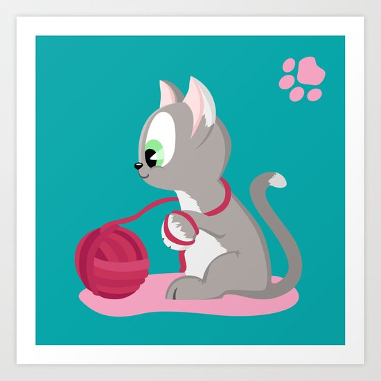 Kitten number 3 of 3 silver cats Art Print