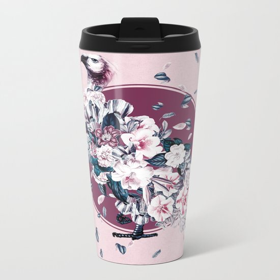 Vulture and Floral Metal Travel Mug