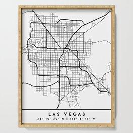 LAS VEGAS NEVADA BLACK CITY STREET MAP ART Serving Tray