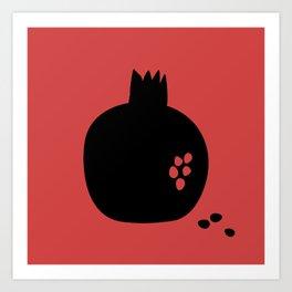 Black pomegranate and seeds Art Print