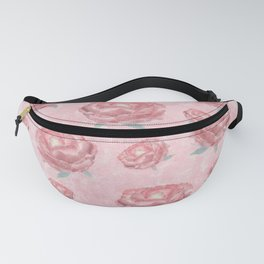 Watercolour red peonies flowery pattern Fanny Pack