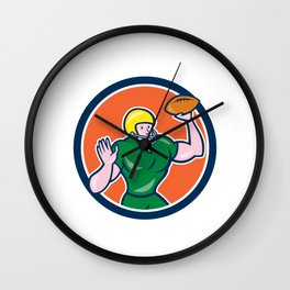 American Football QB Throwing Circle Retro Wall Clock