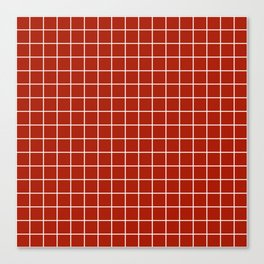 Rufous - red color - White Lines Grid Pattern Canvas Print