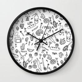 Hand drawn food pattern illustration Wall Clock