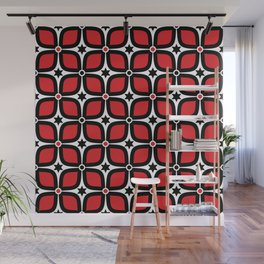 Mid Century Modern 4 Leaf Clover - Black, White, Red Wall Mural