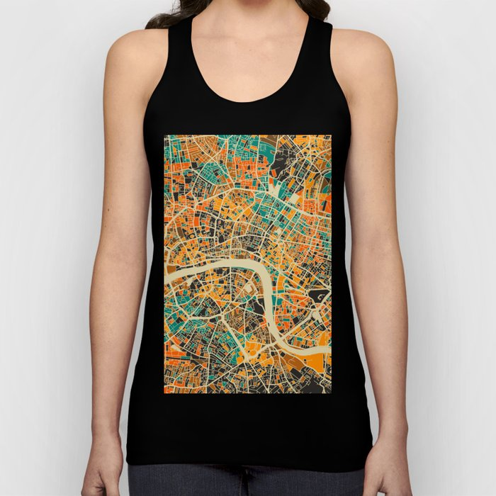 London Mosaic Map #3 Unisex Tank Top