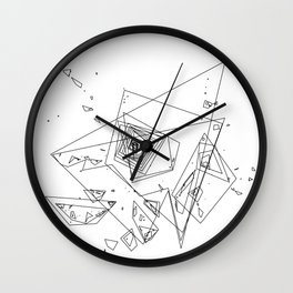 Mountain Vertices, Mt. Hood, Black Geometric Wall Clock