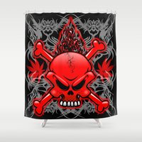 tattoos Shower Curtains featuring Red Fire Skull with Tribal Tattoos by BluedarkArt