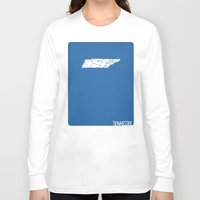 tennessee Long Sleeve T-shirts featuring Tennessee Minimalist Vintage Map by Finlay McNevin