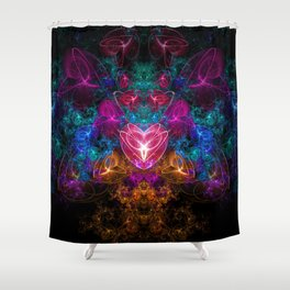 Dark Space Time Romance Shower Curtain