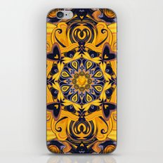 Flame Hearts in Blue and Gold iPhone & iPod Skin