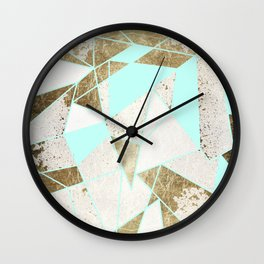 Modern Rustic Mint White and Faux Gold Geometric Wall Clock
