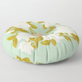 Gardenias on Green Floor Pillow