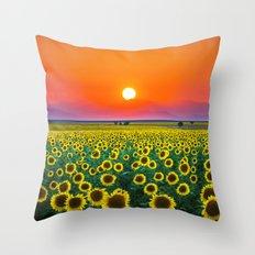 Sunflower Haze Throw Pillow