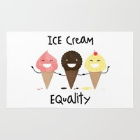 equality Area & Throw Rugs featuring Ice cream Equality (reloaded) by Juliana Rojas | Puchu