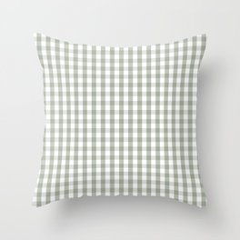 Desert Sage Grey Green and White Gingham Check Throw Pillow