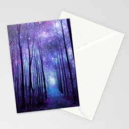 Fantasy Forest Path Icy Violet Blue Stationery Cards