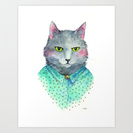 Juno Hipster Cat Portrait Art Print