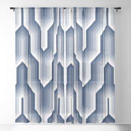 Retro Chevron Blue Sheer Curtain