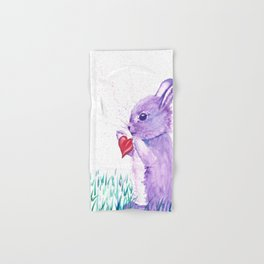 Purple Watercolor Bunny Rabbit Art Hand & Bath Towel