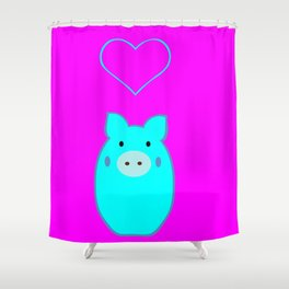 Blue Pig in Love Shower Curtain