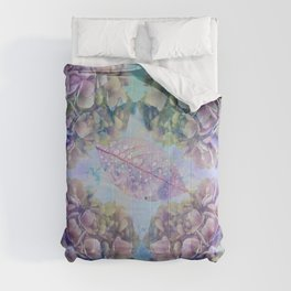 Watercolor hydrangeas and leaves Comforters