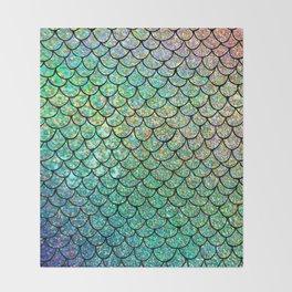 Colorful Glitter Mermaid Scales II Throw Blanket