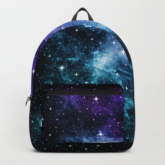 Purple Teal Galaxy Nebula Dream #1 #decor #art #society6 Rucksack