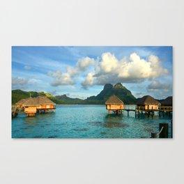 Bora Bora Tahiti Bungalow Canvas Print