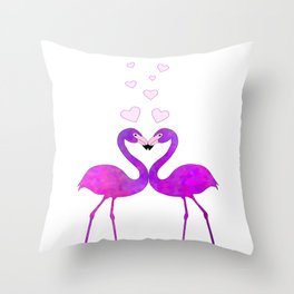 Flamingo Love Connection Throw Pillow